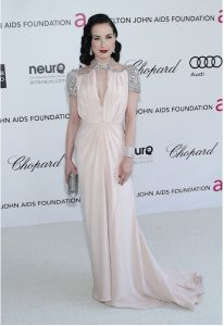 Dita von Tesse in Jenny Packham at  the Elton John's Aids Foundation Academy Awards Viewing party 2012.