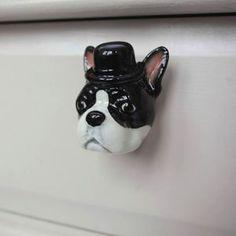 Porcelain Elvis The Boston Terrier Drawer Pull
