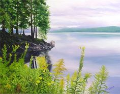 """Serenity"" Lake Francis, Pittsburg, NH 18 X 24 Oil on Canvas, 2007 © 2015 Brenda L. B. Kenney"