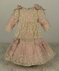 Wonderful Tiny Antique French Lace Bebe Dress and Bonnet for JUMEAU, from mybebes on Ruby Lane