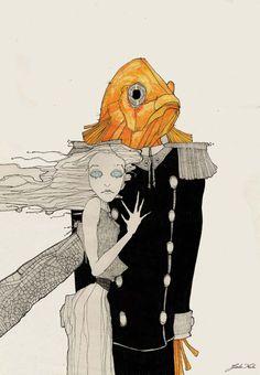 Giulia Ferla - Libellula e Pesce Rosso oggi sposi - China e Matite colorate su Carta