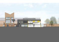 Gallery of Stoke Newington School Sixth Form Centre / Jestico + Whiles - 15 School Six, Elevation Drawing, Architecture Design, Multi Story Building, Villa, Gallery, Presentation, Architectural Drawings, Chart