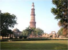 Qtab Minar is built by red sandstone. It is the second highest tower of India.