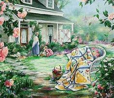 """Paula Vaughan Art Gallery (Prints)  ~  """"Quilts and Roses"""""""