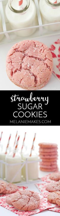 These Strawberry Sugar Cookies are simple and delicious and yield scrumptious, buttery cookies with crinkly tops, crisp edges, soft centers and (best of all) a burst of fresh, sweet strawberry flavor. (great for a girly birthday party) Mini Desserts, Cookie Desserts, Easy Desserts, Cookie Recipes, Delicious Desserts, Dessert Recipes, Yummy Food, Dishes Recipes, Buttery Cookies