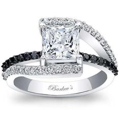 Black & White Diamond Engagement Ring Featuring 0.59 Carats Total Weight Round Diamonds in a Bypass Design by Barkev's. Available at BenGarelick.com starting at $2740.  https://www.bengarelick.com/products/barkevs-black-white-diamond-bypass-diamond-engagement-ring