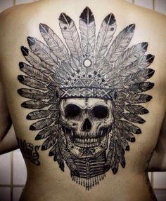 head dress indian skull tattoo by david hale Indian Skull Tattoos, Maori Tattoos, Back Tattoos, Great Tattoos, Beautiful Tattoos, Body Art Tattoos, Tribal Tattoos, Tatoos, Wing Tattoos