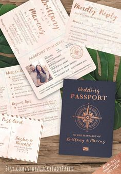 Destination Wedding Passport Invitation Set in Rose Gold and.- Destination Wedding Passport Invitation Set in Rose Gold and Blush Watercolor Compass Design by Luckyladypaper – see item details to order - Passport Wedding Invitations, Laser Cut Wedding Invitations, Invitations Online, Event Invitations, Original Wedding Invitations, Wedding Stationery, Wedding Cards, Wedding Events, Our Wedding