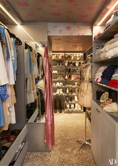 """The usage of her smaller, second bedroom was also completely redone. """"It was a closet and a lot of different things, but none of them worked perfectly. So then I blew the whole thing out,"""" Radziwill says. """"Like every girl in New York I dream of walk-in closet where you can see all your clothes and the hangers don't touch."""" 