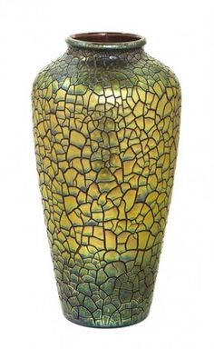 A Zsolnay Pecs Pottery Vase, Height 18 inches.