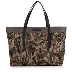 JIMMY CHOO Pimlico Cactus Green Mix Camouflage Print Nylon And Satin  Leather Tote Bag. #