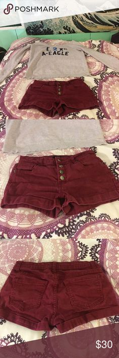 GORGEOUS SHORTS These denim shorts are a gorgeous color. Very cute silver buttons. Excellent condition! Perfect for spring! Gorgeous maroon color Forever 21 Shorts Jean Shorts