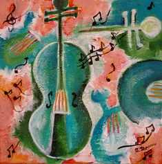 Music Violin Painting, Turquoise and Pink Original Art, Mixed Media Abstract Art £75.00