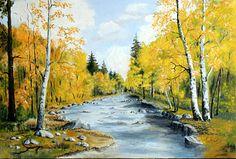 """""""Rzeka w jesiennej szacie"""" obraz olejny 70x 50 cm"""
