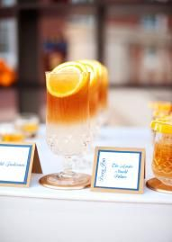 Classy cocktails by Abbey Road Catering in Events by Morgan's tabletop. Photo by Ely Fair Photography. #wedding #cocktail #orange