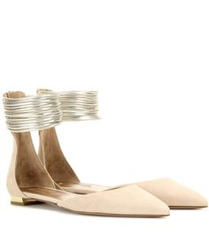 Hello Lover nude and gold-tone suede and metallic leather ballerinas