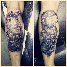 """การเดนทาง  ตดตามผลงานสกทเพจเฟสบค """"tattoo jawinci สกลายและออกแบบลายสก""""  #sailboat #voyage #compass #ship #boat #sea #tattoo #leg #shadow #way #jawinci #cloud #time #clock #cheyennemachine #cheyennepen #darkgreysumi #zuperblack #lantern #intenzezuperblack #intenze by jawinci"""