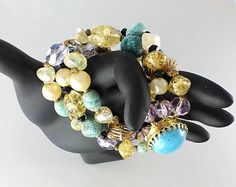 Hattie Carnegie Art Glass, Pearl and Crystal Bracelet, shades of turquoise and gold