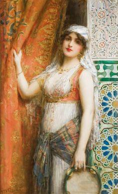 Léon François COMERRE Jeune femme au tambourin Huile sur toile, signée