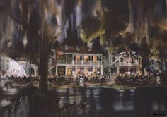 Concept art for the Blue Bayou restaurant as seen from the beginning of Pirates of the Caribbean