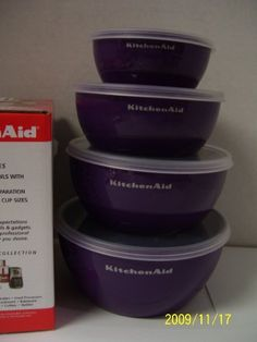 """KitchenAid Boysenberry Purple Prep Bowls, Set of 4 on Amazon - uncertain as to whether these would be useful yet; seems more of an """"I have my own apartment"""" type housewarming gift and not so useful in a dorm. However, they do match!"""