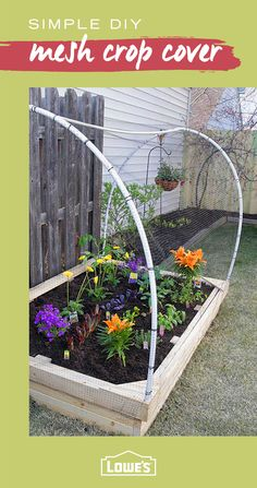 Consider adding a mesh cover to your raised garden bed. This easy weekend DIY will help keep birds, rabbits and other critters away so your garden can flourish. Get the wood, PVC pipes and tools for this project at Lowe's.
