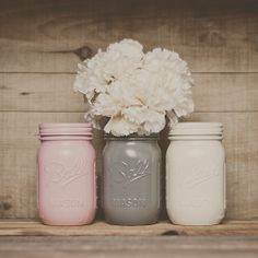 Painted mason jars. Wedding centerpiece.