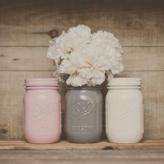 Painted mason jars. Wedding centerpiece. by StyleJarsandCans