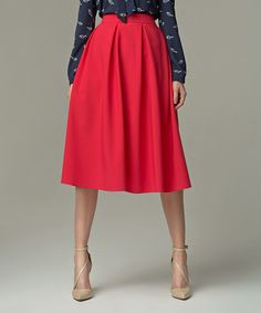 Look at this NIFE Red Pleated A-Line Skirt on #zulily today!