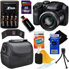 Fujifilm FinePix S4800 16.0 MP Digital Camera with 30x Optical Zoom Lens + 4 AA Batteries with Charger + 8pc Bundle 16GB Accessory Kit w/ HeroFiber® Ultra Gentle Cleaning Cloth