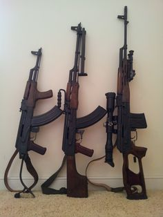 Romanians…  A WASR, an AES-10B and PSL. Only the PSL has the receiver dimples. Kind of nice that the owner finished all of the furniture to match. Usually AES-10B and PSL wood is much lighter, even honey blonde in color sometimes.