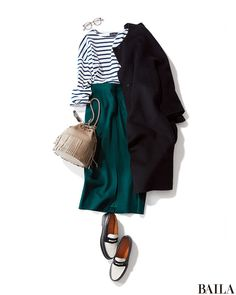 striped tee with teal skirt Japan Fashion, Work Fashion, Modest Fashion, Hijab Fashion, Korean Fashion, Fashion Outfits, Womens Fashion, Everyday Outfits, Everyday Fashion