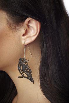 Black Leather Owl Earrings