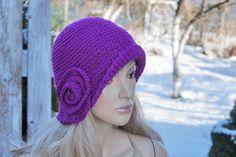Crochet fuchsia  hat Handmade Cloche Hat Cloches Knit Accessories  Purple Winter Hat flower Rose Hat Women