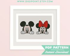 Mickey and Minnie Cross Stitch Pattern Mickey Mouse by DigiPoint