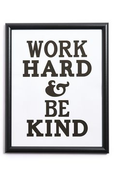 CANTON BOX CO. 'Work Hard and Be Kind' Wall Art available at #Nordstrom