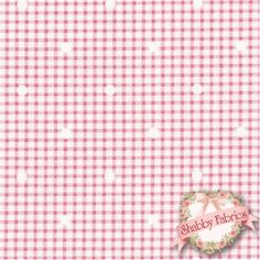"Hill Farm 30553-20 by Brenda Riddle for Lecien Fabrics: Hill Farm is a lovely collection by Brenda Riddle that was inspired by yesteryear.  Lecien Fabrics.  100% cotton, 44""/45"" wide.  This fabric features a pink and off-white gingham with off-white dots."