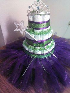 Princess diaper cake with tutu.  Facebook.com/crystalscutecreationz