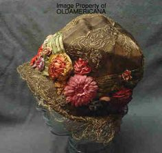 Flapper Cloche Hat Gold Embroidery Velvet Satin Flowers 1920 30s Vintage | eBay