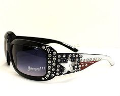Women Rhinestone Western American Flag Star Cowgirl Sunglasses Lone Texas Bling #Rectangular