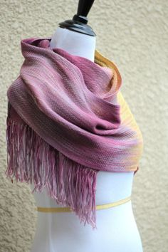 Hand woven long scarf with gradually changing colors from pink fuchsia to mustard yellow. My scarves are unique and OOAK as it is almost impossible to make two identical sc... #kgthreads