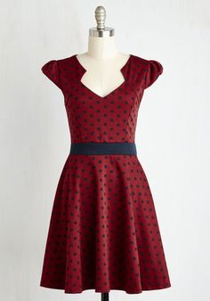The Story of Citrus Dress in Burgundy Dot   Mod Retro Vintage Dresses   ModCloth.com