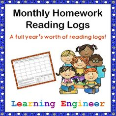 Here is a full year's worth of monthly homework reading logs starting September 2014 and going through August 2015. The logs come in both black and white and color versions. Each month has a calendar for kids to record how many minutes they read each day and a place where they set and track their goals each week. There is also a column for parents to initial. The kids bring it back once a week with their other homework. $ #ReadingLog