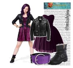 """DIY Halloween Costume Mal Descendants"" by camilita98star ❤ liked on Polyvore featuring Oris, Disney, Yves Saint Laurent and COSTUME NATIONAL"