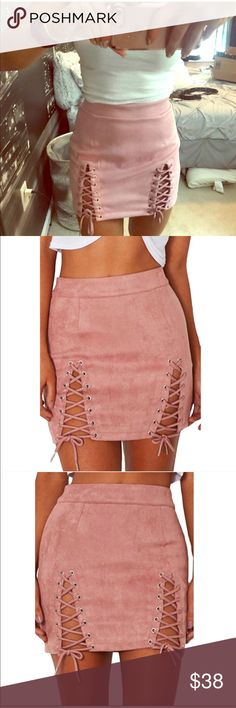 "Mini Pink Suede Skirt Featuring a faux suede, a figure hugging fit and front splits with lace up detailing. Brand New With Tags! Material:Faux Suede,Solid Soft Lighweight Fabric. M: Hip 37.01"";Waist 26.77"";Length 15.35""; Skirts Mini"