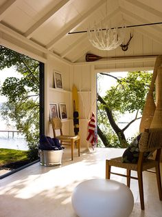 Designer Thom Filicia brought a derelict Skaneateles lake house back to life, transforming it with rustic, but sophisticated decor in New York. Porches, Pool House Interiors, Skaneateles Lake, Outdoor Spaces, Outdoor Living, Gazebos, Haus Am See, Summer Cabins, Property Design