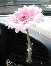 This is a really cool idea - wish I had one - a vase for your car!  Hooks into the air vent.