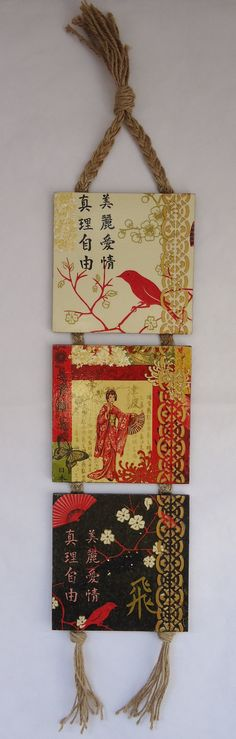 Pano Triptych Geisha and birds' decoupage gift by VesDecoupage, $29.00