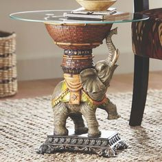 Elephant Table from Midnight Velvet. Faux bamboo and carved resin table has glass top. Elephant Table, Elephant Home Decor, Dumbo The Elephant, Butler Table, Exotic Homes, Elephant Pictures, Oriental Furniture, Boho Bedroom Decor, Resin Table
