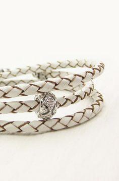 White Leather Sterling Wrap Bracelet / Bohemian Cream